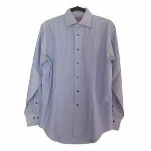 Lorenzo Uomo Mens Striped Blue Shirt. Sz. 16